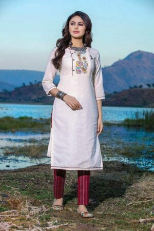 off white cotton kurti with red cotton pant for women