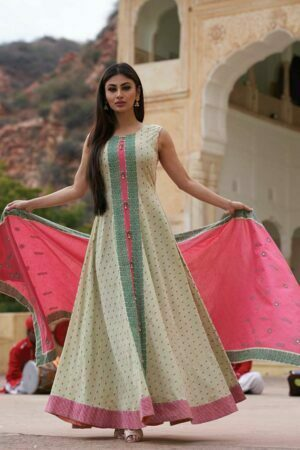 Pista green printed anarkali dress