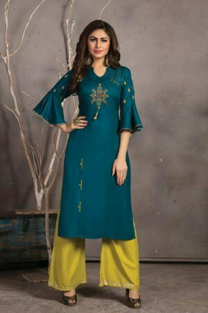 Teal Blue Rayon Embroidered Kurti with Palazzo