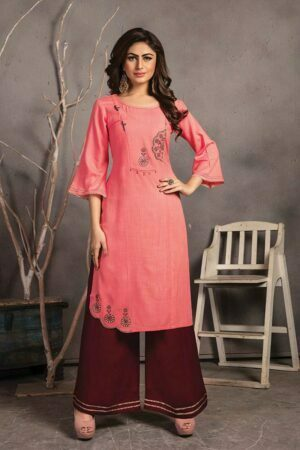 Rose pink Rayon Embroidered Kurti with Palazzo design