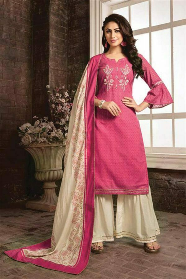 Pink Cotton designer suits with Sharara and Printed Dupatta