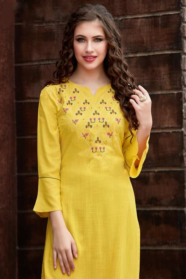 yellow embroidered kurti with cotton