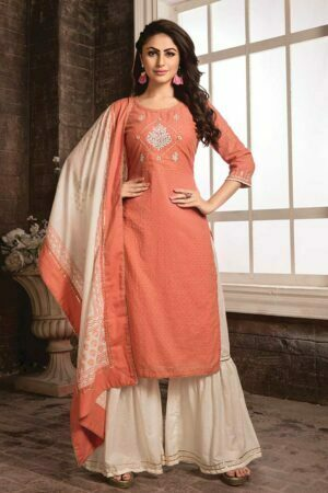 Peach Cotton Embroidered Kurti with Sharara designs and Printed Dupatta