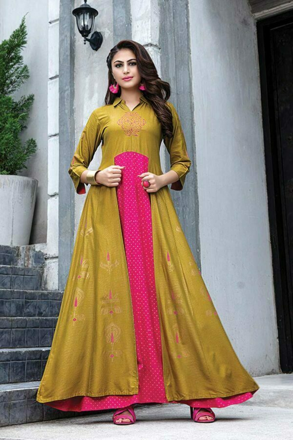 Yellow & pink Cotton Printed Floor Length Long Kurti