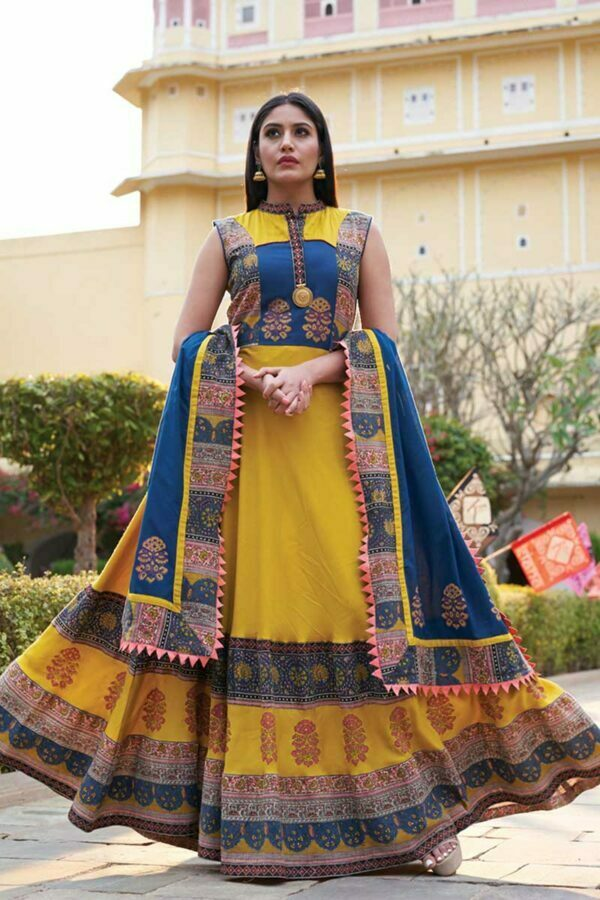 Yellow Printed Long Kurti with Dark Blue Dupatta