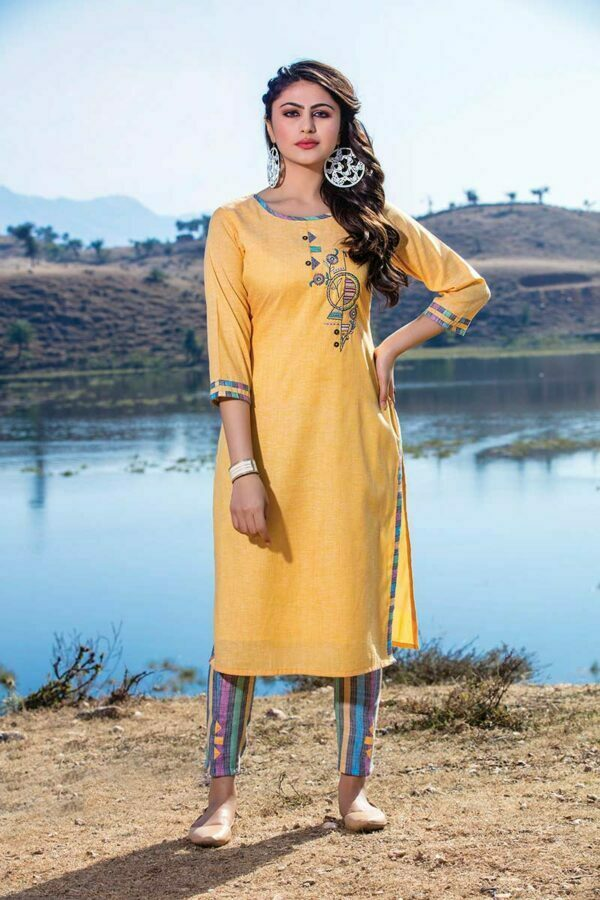 Yellow south cotton embroiderd latest design of kurti with multi color pant