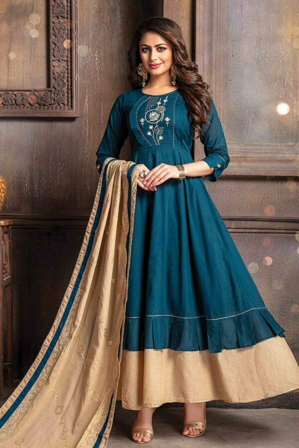 Blue embroidered long kurti for women with dupatta