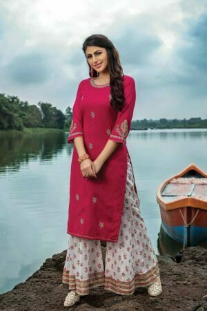 Pink Embroidered Kurti with White Sharara