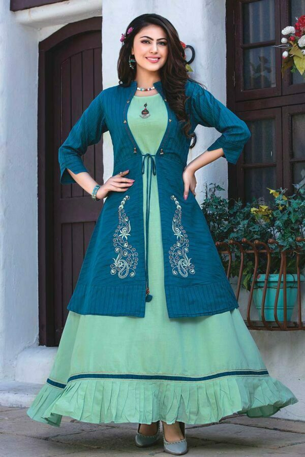 Pastel Blue Gown with Blue Embroidered Jacket