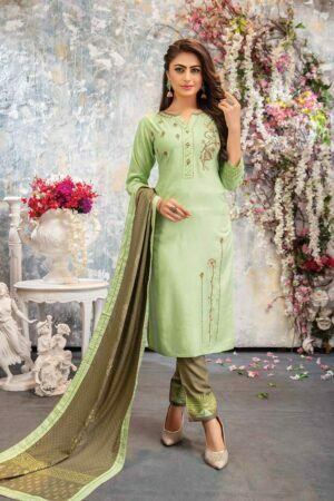 pista green kurti set with pant and dupatta