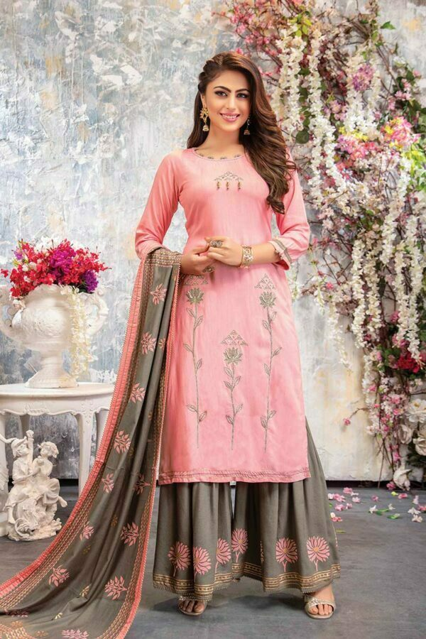 Light Pink Embroidered Kurti With Printed Sharara and Dupatta