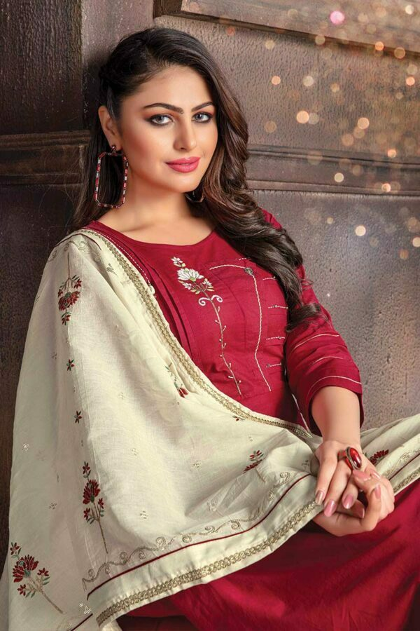 Red kurtis for women with dupatta
