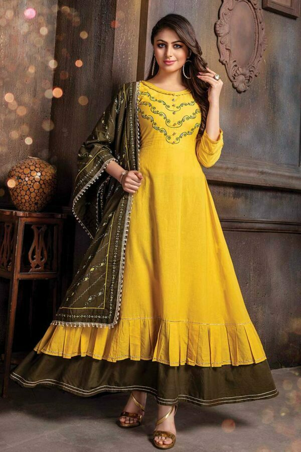 Mustard Yellow Embroidered Long Kurti with Mehndi Green Dupatta