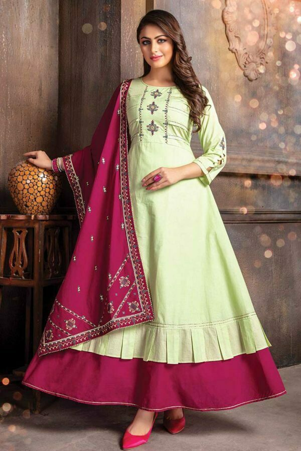 Pista green designer kurti with dupatta